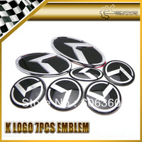For Kia K Logo Optima Black 7pcs/set Wheel Cap Sticker Hood Trunk Front Rear Steering Wheel Emblems