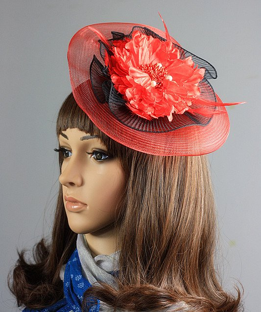 Newest Fascinator Headwear Hats With Feather and Flower Shape RH-1104 Free Shipping(China (Mainland))