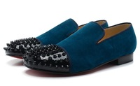 Mens  sneakers for men black spikes and blue color wedding shoes for men 2014