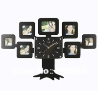 gz004 hot 1pcs free production clock photo images fashionable sitting room wall personality creative happiness tree wall clock
