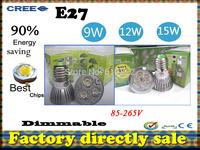 Factory directly sale 100pcs/lot CREE Bulb led bulb E27 9W 12W 15W 110-240V Dimmable led Light led lamps spotlight free shipping