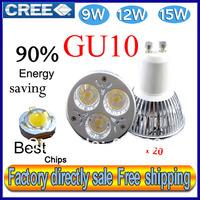 Factory directly sale 20pcs/lot CREE Bulb led bulb GU10 9w 12w 15w 85-265V Dimmable led Light led lamps spotlight free shipping