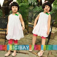 Tutu Dress Free Shipping Kids Clothing Little Girls Summer Flower Dresses Solid Color O-neck Sleeveless Ball Gown K0137