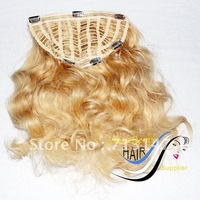 clip in half  hair pieces 12*5 ,body wave blonde color 613# or 60# high quality