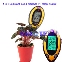 Free shipping Portable 4 in 1 Soil plant  soil &amp; moisture PH meter sunlight ,soil moisture ,temperature,soil pH  tester  KC300