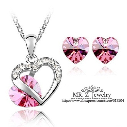 Hot Discounts Double Heart Crystal Necklace Set For Women Mothers Day Gift 10sets/lot Free Shipping(China (Mainland))