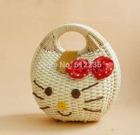 2015 New Cartoon Bags Hello Kitty Design Shell Shaped Kids Handbag small bags Straw bag cute Girls shopping bag Christmas Gift