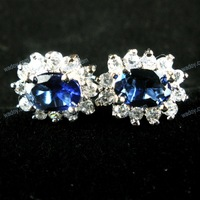 925 Sterling Silver Sapphire Blue Oval Shape Cubic Zirconia Stud Earrings