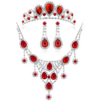 Free Shipping Hot Sale Water-Drop Bridal Jewelry Sets Fashion Red Crystal Necklace Sets Vintage Elements Wedding Accessories