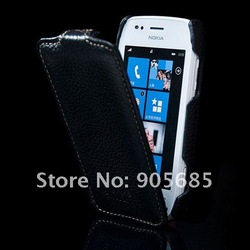 Genuine Leather Case For Nokia Lumia 710 Fashion Mobile Phone Handbag Cover Pouch Free Shipping(China (Mainland))