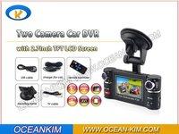 Free shipping Car DVR,Dual Camera with H.264 video codec 2.7'' Screen 180 degree rotated lens Car Black Box,OK-20