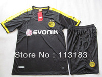 free shipping!!! 2013-2014 Thailand quality Borussia Dortmund away black soccer football jersey football uniforms , free name