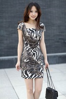 Free shipping Lady Fashion Leopard grain Contracted work Dress 2012 New Dress Mini women Dresses