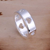 Free Shipping 925 Sterling Silver Ring Fashion Hollow Multi Heart Ring Women&Men Gift Silver Jewelry Finger Rings SMTR110