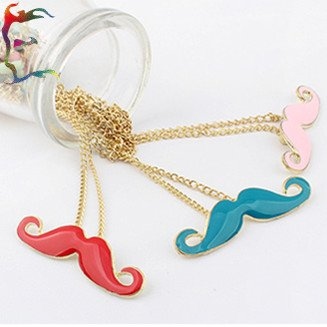 Wholesale fashion Red Blue Pink Goatee pendant necklace Gold chain mustache charm neckalce jewelry 36pcs/Lot Free shipping