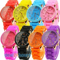 Unisex Charm Men Lady Geneva Silicone Jelly Gel Quartz Sports Wrist Watch 8 Colors Free Shipping!