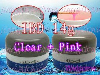 2015 New! Clear + Pink 2 PCS  IBD UV Builder Gel Nail 14 g / 0.5 oz  2 color Special Offer