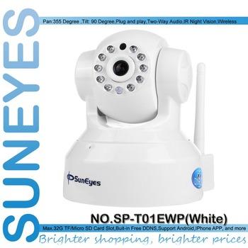 SunEyes SP-T01EWP P/T Wireless IR IP Camera Wifi Network CCTV Camera PnP Plug Play with TF/Micro SD Card Slot
