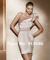 2014 Fashion Design CG-2 Sheath Ruffle One Shoulder Elastic Satin Beaded Crystal Sash Cocktail Dress