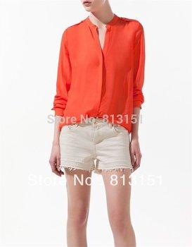 2014 New Women's Orange Blue Long Sleeve Shoulder Knot Chiffon Blouses Shirt Top
