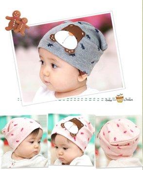 10PCS/lot wholesale cute bear baby hat Cotton baby cap Beanie Infant Hat kids children hats