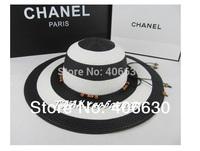 women summer flodable straw beach hat, floppy sunbonnet hat, 2 colors, free Shipping