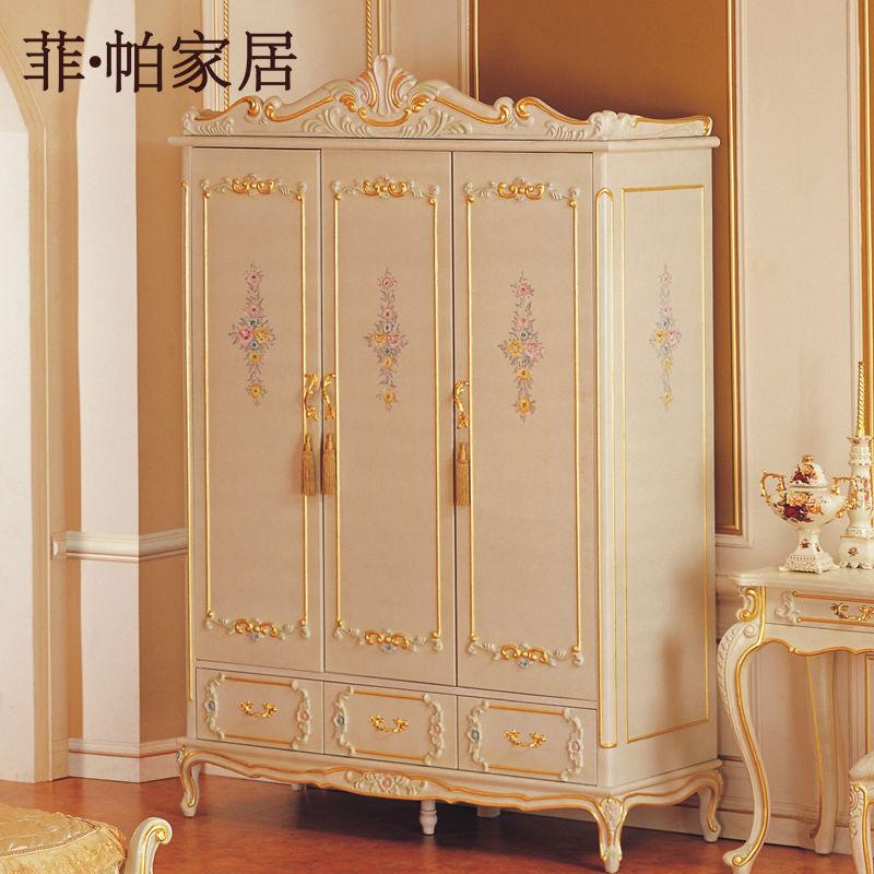 Royal Luxury Bedroom Furniture Hand Carving Solid Wood Baroque Wardrobe Free