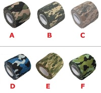Polyester elastic camo camouflage tape military tactical self adhesive bandage 4.5m (length), 50pcs/lot