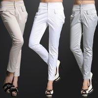 2014 new fashion korea straight leg  slim fit high quality fabric office work career women capris  pants jeans trousers