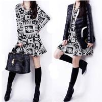 New Autumn/Winter Korean Preppy style Hot Sale Women Natural No.1 Printed V-Neck cotton Straight discount Bottom Dress LJ095