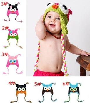 [E-Best] 3pcs/lot Baby cute Owl design hat ,Knit hat ,Children Winter warm caps,Kids fashion manual caps 6colors E-BH-015