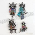 12pcs Antique Silver Mixed 4 Patterns Rhinestone Owl Zinc Alloy Pendants Jewelry Findings Fit Necklace Diy Free Shipping 142735