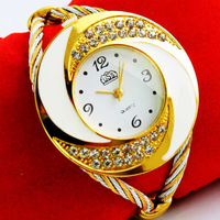 Rhinestone Diamond Whirlwind Design Metal Weave Dress Wristwatches Women Girls Ladies Bracelet Bangle Watches,Muticolors