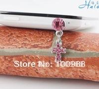 Free Shipping 10pc/Lot Trendy Rhinestone Cross Dust Plug for Mobile Phone IP156