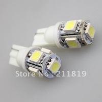 Free shipping 20pcs car LED Lamp T10 W5W 194 5050 SMD 5 LED White Light Bulbs