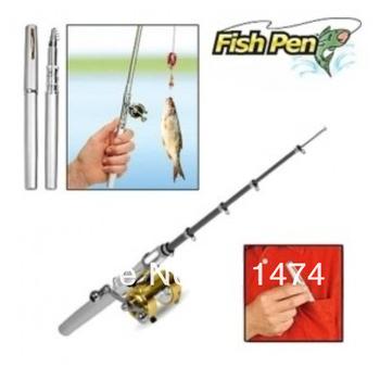 Free Shipping  Pen fishing rod +Golden reel + Fishing Line
