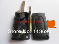 Citroen 3 button C4 Sedan 307 Flip Key Blank Shell with Battery Place Position With Groove at Blade
