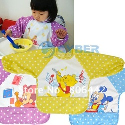 Free Shipping Baby Kids Infant water resist Feeding baby Bibs Apron Art kids Smock shirts Retail & Wholesale(China (Mainland))