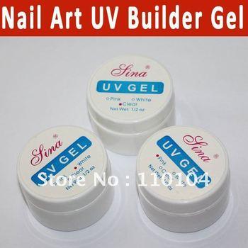 3pcs/lot Pink Clear White UV Gel Nail Art Builder Set ail Art Glue False Tips Polish Gel Topcoat free shipping