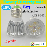 Factory directly sale 10pcs/lot CREE Bulb led bulb E27 15w 5x3W 110V 220V Dimmable led Light led lamps spotlight free shipping