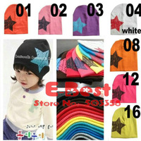 [E-Best] Candy colors baby hats Children cotton skull caps kids knit Star hats HT100