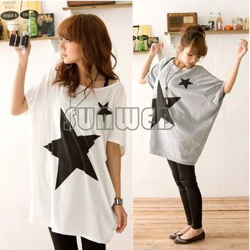Fashion Women's Loose Star Print Bat Short Sleeve T-shirt Tops Blouse White, Gray Free Ship sv18 7094