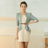Free shipping 2014 New lady's Spring  prom patchwork plus size  dress retail  Wholesale