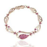 Min.order is $15(mix) 18KGP 18K Gold Plated Rhinestone Water Drop Bracelet For Women Fashion Bracelet Jewelry Wholesale