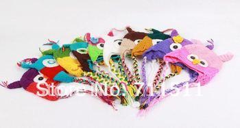 Cartoon Designs 100%Cotton Handmade Children Crochet Hats Various Animal Styles Baby Owl Beanie hat Kids Flower cap MZ0626