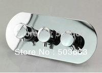 Fashion Brass Chrome Thermostatic Triple 3 Way Shower Faucet control Valve CM0705