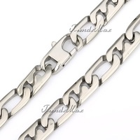 Customized 10mm Silver Tone Marina 316L Stainless Steel Necklace Chain Mens Boys 18-36 inch Wholesale Jewelry Gift HN03
