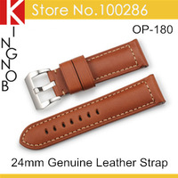 Free Shipping Brown Watchband 24mm Genuine Leather Watch Band Strap For Panerai With Stainless Steel Pre-V Tang Buckle