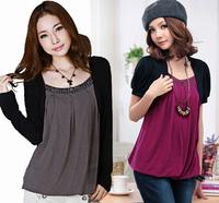 M~4XL Women Plus Size Long Sleeves Patchwork Rivet Fux Two-piece Spring Summer T-shirt Hotsale Cotton Loose Long Autumn T-shirts