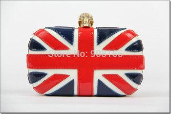 free shipping fashion handbags Patent leather skull British flag bags/evening handbags.wholesale